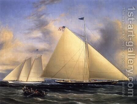 The Sloop 'Maria' Racing the Schooner Yacht 'America,' May 1851 by James E. Buttersworth - Reproduction Oil Painting