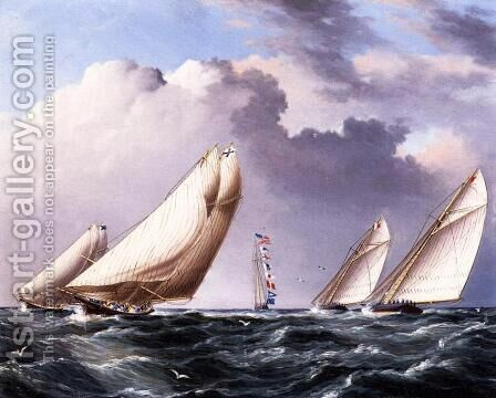 Yachts Rounding the Mark by James E. Buttersworth - Reproduction Oil Painting