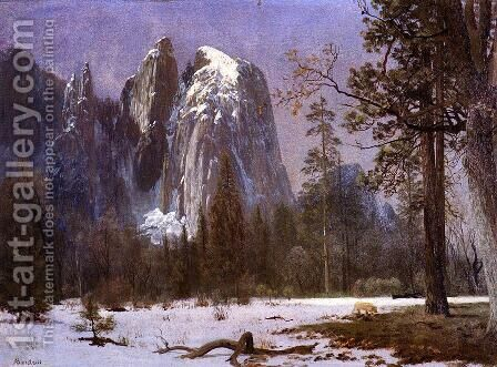 Cathedral Rocks, Yosemite Valley, Winter by Albert Bierstadt - Reproduction Oil Painting