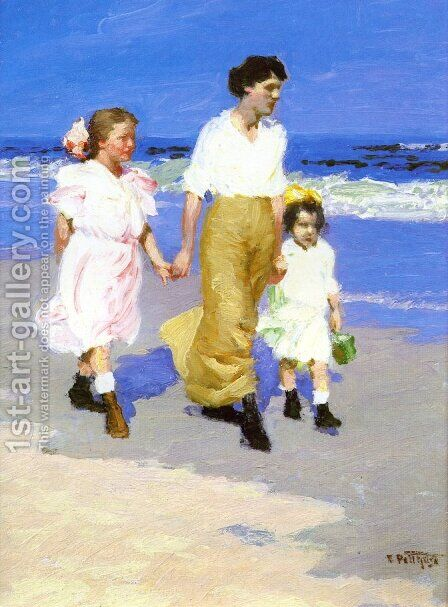On the Beach by Edward Henry Potthast - Reproduction Oil Painting