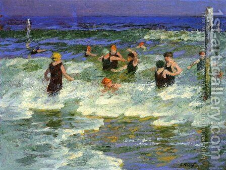 Bathing in the Surf by Edward Henry Potthast - Reproduction Oil Painting