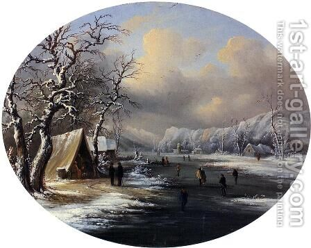 Skating on the Pond by Marie-Regis-Francois Gignoux - Reproduction Oil Painting