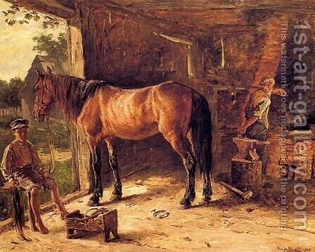 The Blacksmith Shop by Hugh Newell - Reproduction Oil Painting