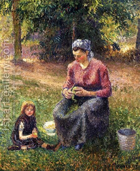 Peasant Woman and Child, Eragny by Camille Pissarro - Reproduction Oil Painting