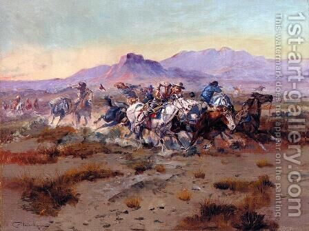 The Attack by Charles Marion Russell - Reproduction Oil Painting