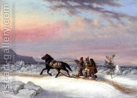 The Winter Crossing from Levis to Quebec by Cornelius David Krieghoff - Reproduction Oil Painting
