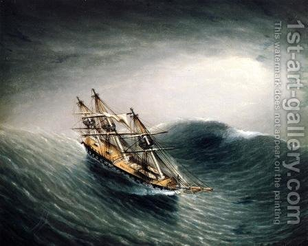 Schooner in a Stormy Sea by James E. Buttersworth - Reproduction Oil Painting