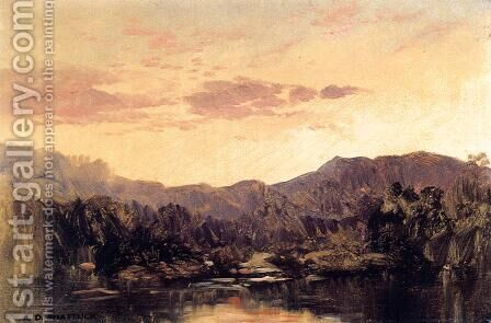Sunset over Lake George by Aaron Draper Shattuck - Reproduction Oil Painting