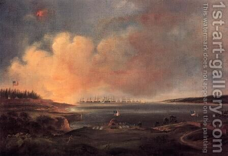 The Battle of Fort McHenry by Alfred Jacob Miller - Reproduction Oil Painting