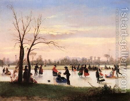 Ice Skating at Twilight by Conrad Wise Chapman - Reproduction Oil Painting