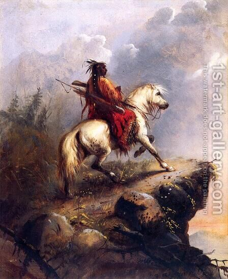 Crow Indian on the Lookout by Alfred Jacob Miller - Reproduction Oil Painting
