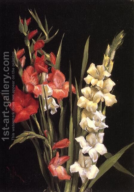 Still Life with gladiolas by Edward Chalmers Leavitt - Reproduction Oil Painting