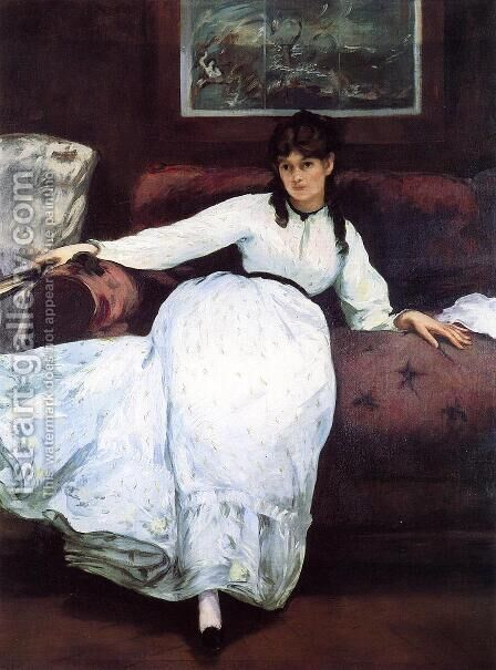 Repose: Portrait of Berthe Morisot by Edouard Manet - Reproduction Oil Painting