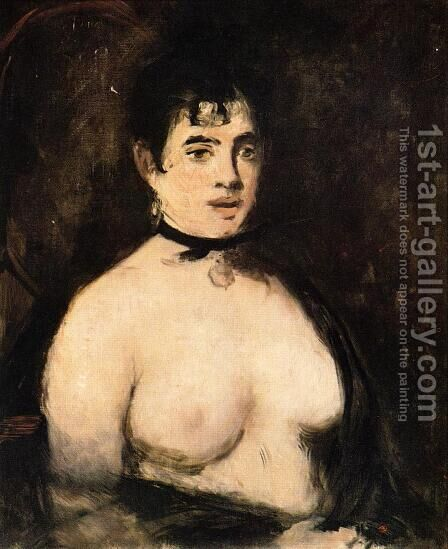 The Brunette with Bare Breasts by Edouard Manet - Reproduction Oil Painting
