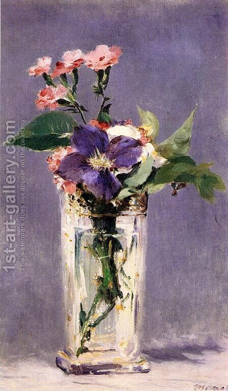 Pinks and Clematis in a Crystal Vase by Edouard Manet - Reproduction Oil Painting