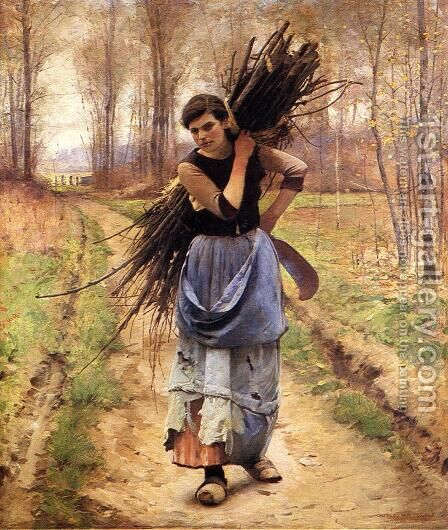 The Woodcutter's Daughter by Charles Sprague Pearce - Reproduction Oil Painting