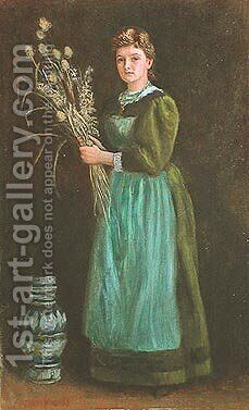 Portrait of Lucy Hill by Arthur Hughes - Reproduction Oil Painting