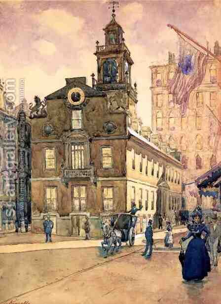 The State House from Park Street, Boston by James Kinsella - Reproduction Oil Painting