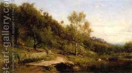 Path by a River by James McDougal Hart - Reproduction Oil Painting