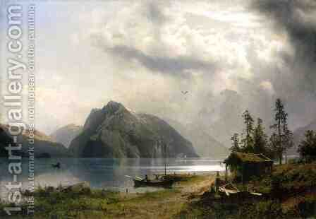 Landscape with Lake and Mountains by Herman Herzog - Reproduction Oil Painting