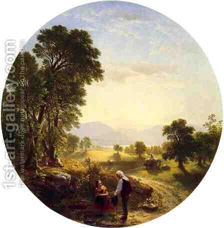 Hudson River Scene by Asher Brown Durand - Reproduction Oil Painting