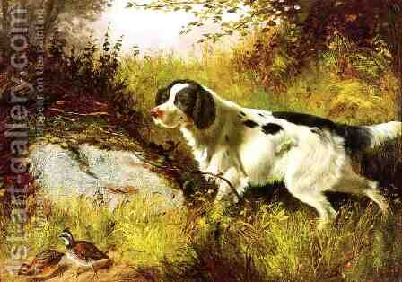 Dog and Quail by Arthur Fitzwilliam Tait - Reproduction Oil Painting