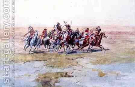 Cree War Party by Charles Marion Russell - Reproduction Oil Painting