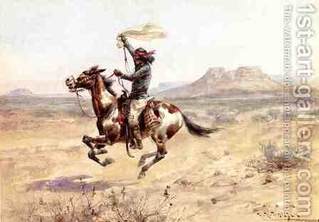 Apache Indian Scout Signalling the Column by Herman Wendleborg Hansen - Reproduction Oil Painting