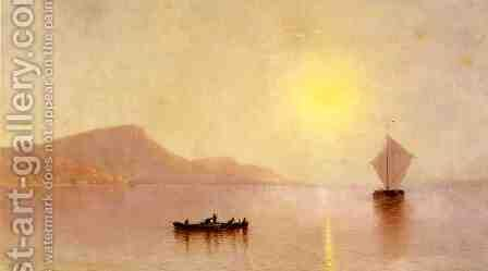 Sunset over the Palisades on the Hudson by Alfred Thompson Bricher - Reproduction Oil Painting