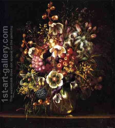 Still Life with Flowers in a Vase by Adelheid Dietrich - Reproduction Oil Painting