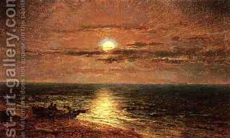 Moonlit Seascape by Jasper Francis Cropsey - Reproduction Oil Painting
