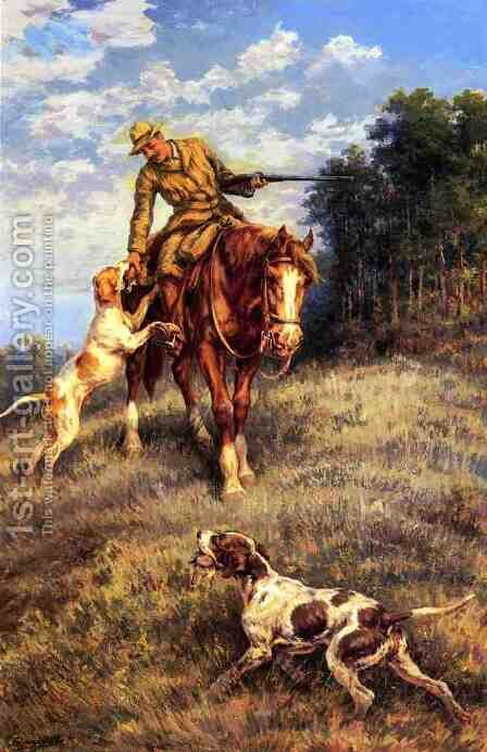 A Hunter and His Dogs by Edmund Henry Osthaus - Reproduction Oil Painting