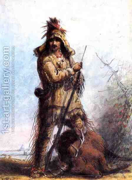 Louis - Rocky Mountain Trapper by Alfred Jacob Miller - Reproduction Oil Painting