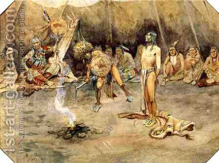 Sioux Torturing a Blackfoot Brave by Charles Marion Russell - Reproduction Oil Painting