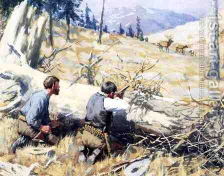 Elk Ahead by Arthur Burdett (Sr.) Frost - Reproduction Oil Painting