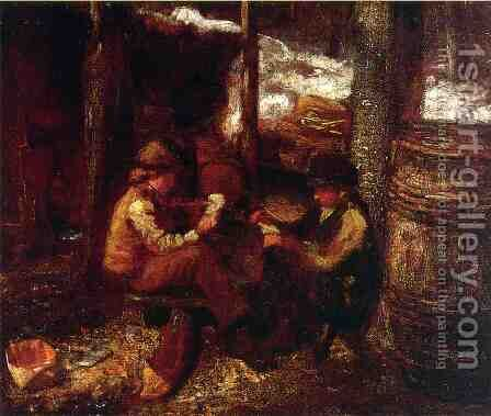 At the Maple Sugar Camp by Eastman Johnson - Reproduction Oil Painting