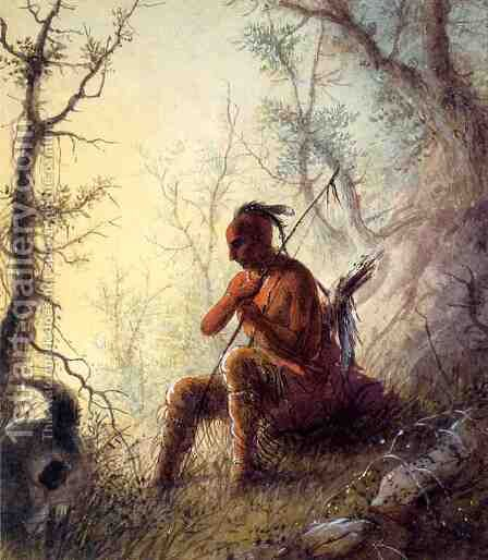 Sioux Indian at a Grave by Alfred Jacob Miller - Reproduction Oil Painting
