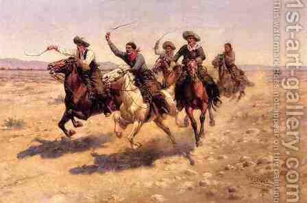 Cowboy Race by Herman Wendleborg Hansen - Reproduction Oil Painting
