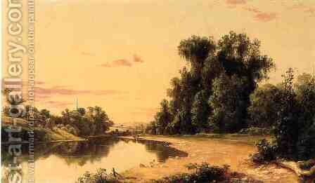 Esopus River Landscape, Hurley, New York by David Johnson - Reproduction Oil Painting