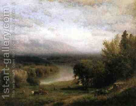 Farmhouse in a River Valley by Alexander Helwig Wyant - Reproduction Oil Painting