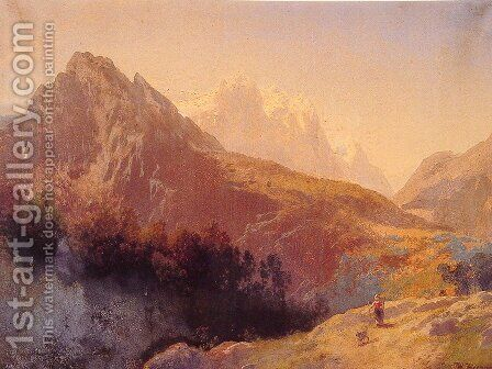 In the Alps by Herman Herzog - Reproduction Oil Painting