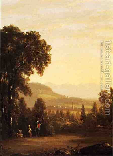 Landscape with Village in the Distance by Sanford Robinson Gifford - Reproduction Oil Painting