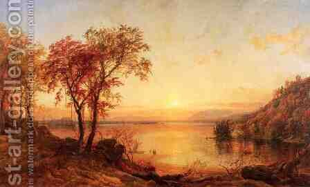 Sunset at Greenwood Lake by Jasper Francis Cropsey - Reproduction Oil Painting
