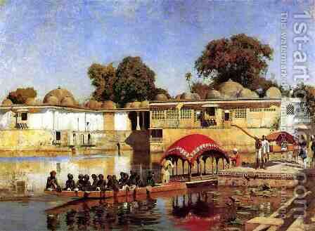Palace and Lake at Sarket-Ahmedabad, India by Edwin Lord Weeks - Reproduction Oil Painting