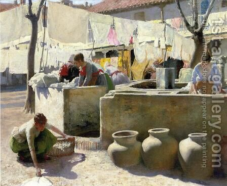 Washerwomen, Seville by Charles Frederick Ulrich - Reproduction Oil Painting
