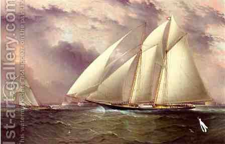 Schooner Racing off New York Harbor by James E. Buttersworth - Reproduction Oil Painting
