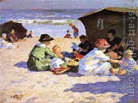 A Day at the Seashore by Edward Henry Potthast - Reproduction Oil Painting