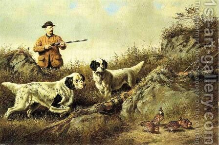 Amos F. Adams Shooting Over Gus Bondher and Son, Count Bondher by Arthur Fitzwilliam Tait - Reproduction Oil Painting
