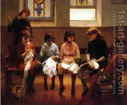 The Sewing School by Constant Mayer - Reproduction Oil Painting