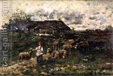 A Shepherdess and Her Flock by Charles Émile Jacque - Reproduction Oil Painting